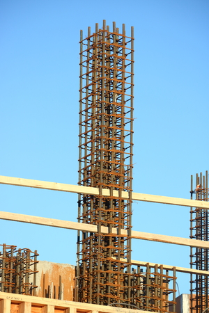 Re-bar is used to create a cast or mold for the basic foundation of a modern building. Stock Photo