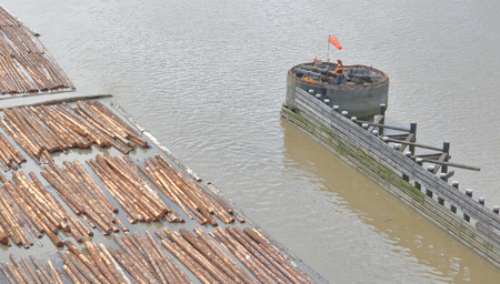 specialized job: A swing bridge is being maintained by professional crew. Stock Photo