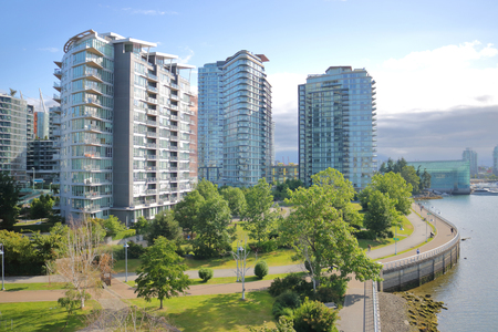 waterfront property: Downtown Vancouver, British Columbia on the northeast side of False Creek.