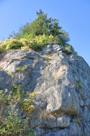 Vertical of a low angle view of a steep rock embankment. 版權商用圖片