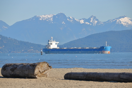 The BTG Olympos bulk carrier is anchored and waiting to unload its freight in Vancouver, British Columbia on June 23, 2017.