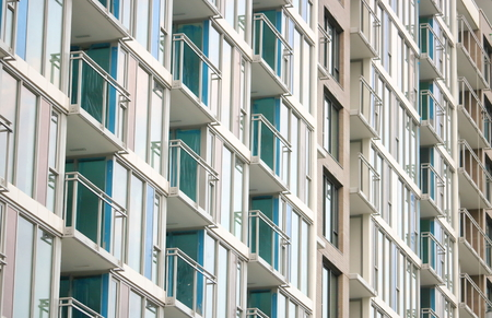 Profile view of generic and high density architecture where every apartment or condominium is identical in design.