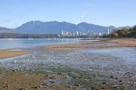 The receding tide in Kitsilano, a suburb of Vancouver, British Columbia and the Northshore Mountains on a Fall day. Stock Photo
