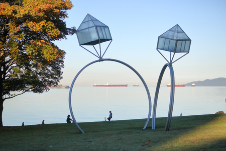Engagement is a series of sculptures by Dennis Oppenheim depicting diamond engagement rings at Sunset Beach in Vancouver, BC, Canada on October 5, 2017.