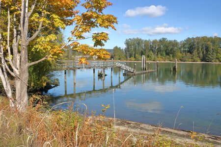 A small, wooden foot bridge leads to a dock used to anchor private boats on a river.