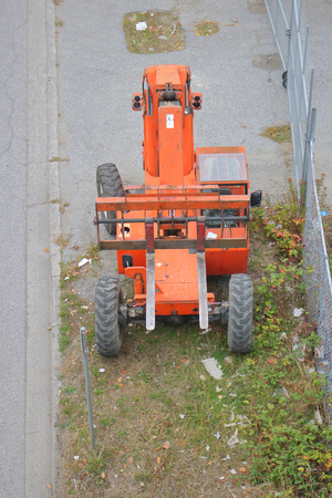 High angle view of a large, industrial standard forklift used for heavy lifting.