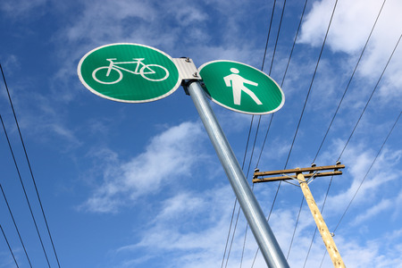 Signs are posted for people who prefer to commute in the city using environmentally friendly means of transportation.