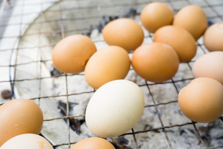 Grilled egg  Eggs on the barbecue grill in street market. Stock Photo