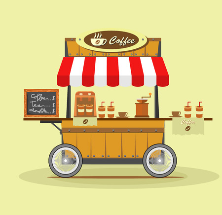 Coffee Street Cart vector illustration