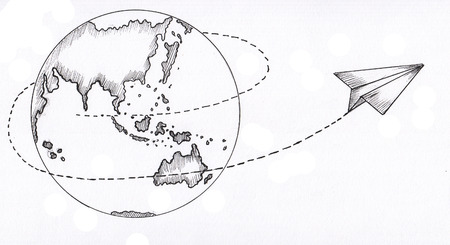 globe and paper plane 版權商用圖片 - 102365268