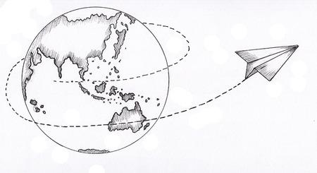 globe and paper plane