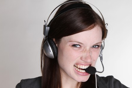 Woman with headset photo