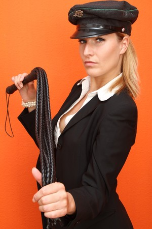 Woman with leather whip Stock Photo - 7906919