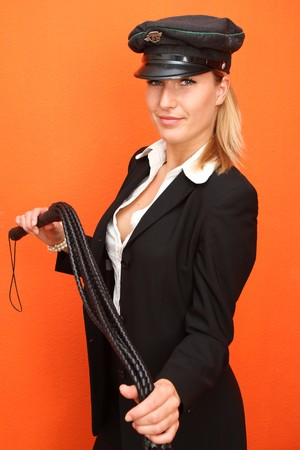 domina: Woman with leather whip