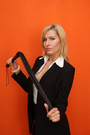 dominatrix: Woman with leather whip