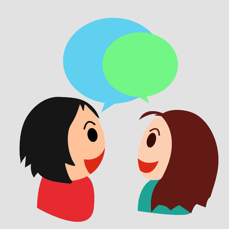 Cartoon illustration of boy and girl talking and sharing a meaningful conversation