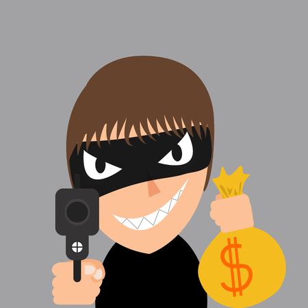 robbing: thief is robbing, Threatened with handgun Illustration