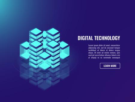 Bigdata processing concept, cloud storage, data warehousing, databse icon, neon dark ultraviolet Иллюстрация