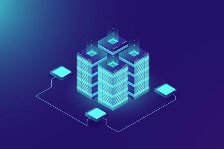 Rack de salle de serveurs, technologie blockchain, accès API jeton, centre de données, concept de stockage en nuage, illustration du protocole axchange de données, fond dégradé néon foncé Vecteurs