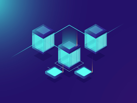 Networking and telecommunicetion technology, server room, big data center, exchange information transfer isometric vector neon