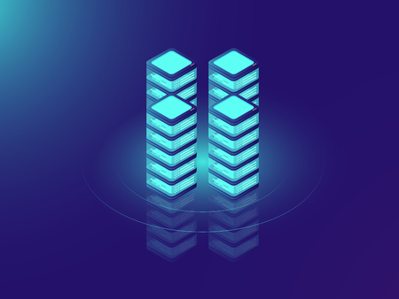 Server room rack, database and datacenter concept icons, IT isometric vector illustration on neon dar background Ilustrace