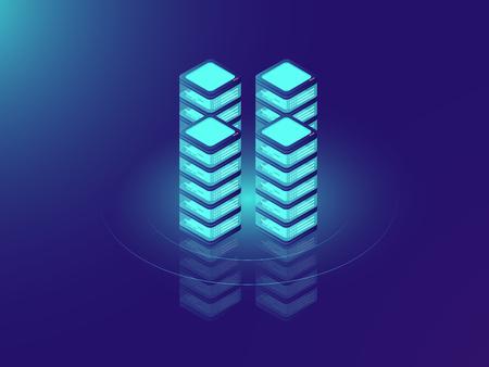 Server room rack, database and datacenter concept icons, IT isometric vector illustration on neon dar background Ilustração