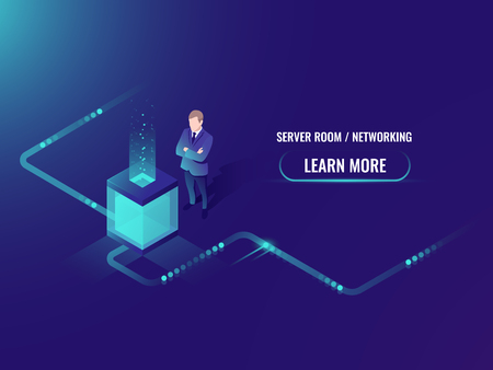 Isometric data center, vector big data processing and storage, information guarding, man system administrator in server room illustration Иллюстрация