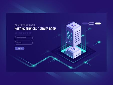 Usługi hostingowe, centrum danych, serwerownia, szablon strony poświęconej technologiom informatycznym, ilustracja wektorowa ultrafioletowa