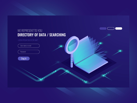 Directory of data, information serching result, book with magnifying glass, search engine optimisation, information technologies isometric vector ultraviolet