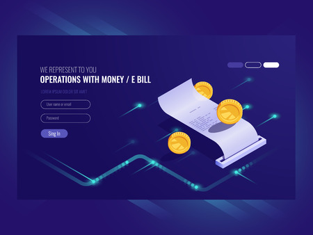 Operations with money, electronic bill, coin, chash transaction, payment online isometric vector ultraviolet