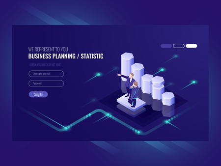 Business planning, statistic, illustration with two businessman, team leader and common efforts, e commerce success isometric vector ultraviolet Ilustração