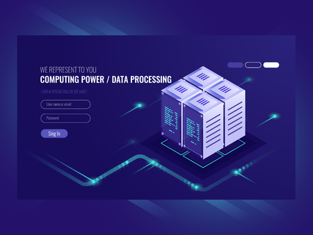 Blockchain server concept, quantum computer, server room, database, information storage and processing isometric vector ultraviolet Stock Illustratie