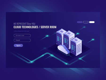 Cloud data center, server room icon, information request processing, computer technologies, isometric vector ultraviolet