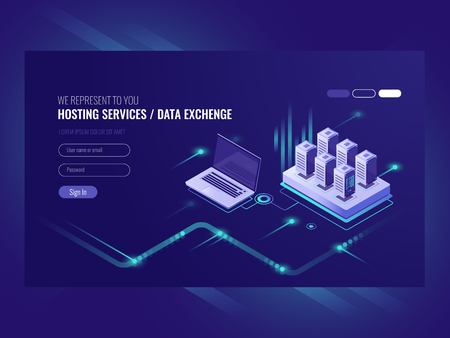 Web sites hosting services, server room rack, data center, data searching and network administration isometric vector ultraviolet.