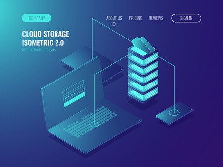 Solution d'hébergement Web, stockage de données de serveur cloud, transfert de données et technologie de transmission de données illustration vectorielle isomérique