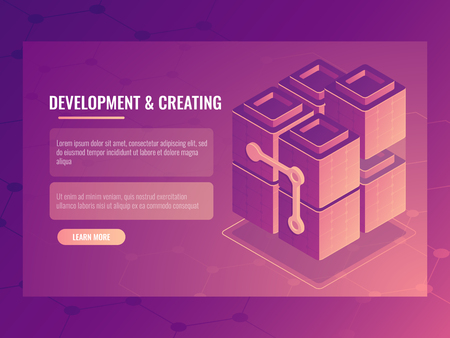 The concept of development and creating, blocks constructor, digital technology server room, data center data base, cloud storage icon isometric vector 일러스트