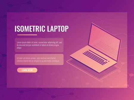 Open laptop isometric vector, banner of computer digital technology, abstract background
