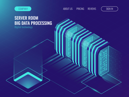 Cloud server room concept, data center, processing big data, networking process, data routing and storage ultraviolet isometric vector illustration Ilustração