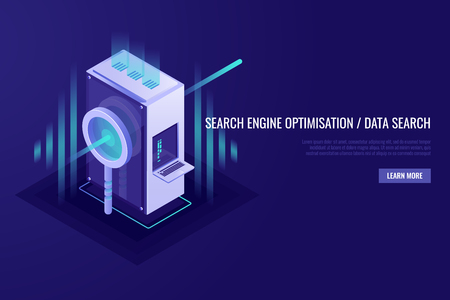 Concept of search engine optimisation and data search. Magnifying glass with server rack. 3d Isometrick style