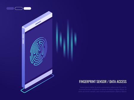 Ð¡oncept of fingerprint sensor on phone.Access to data. Fingerprint on the smartphone screen. 3d isometric style