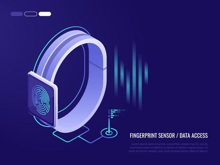 Ð¡oncept of fingerprint sensor on smart watch .Access to data. Fingerprint on the smartphone screen. 3d isometric style