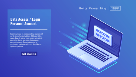Data Access, login form on screen laptop, personal account, authorization process, inter password, personal data processing isometric vector Ilustración de vector
