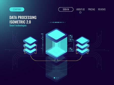 Digital science concept, server room, cloud storage, data exchange, computer memory, abstract lighting isometric, dark neon vector 3d Illustration