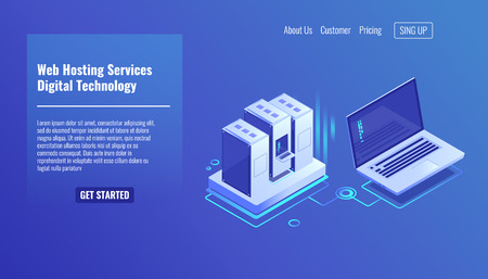 Server room rack, remote system administration, outsourcing service, computing technologies isometric vector icon 3d Ilustração
