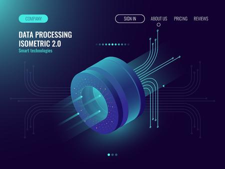 Análisis de datos que procesan la computación de big data, el flujo de información, el laboratorio de ciencias digitales, el concepto de sala de servidores del centro de datos, el vector isométrico de neón oscuro 3d