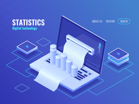 Statistic and analysis concept, data processing result, economic report, electron bill, billing system isometric vector Illustration
