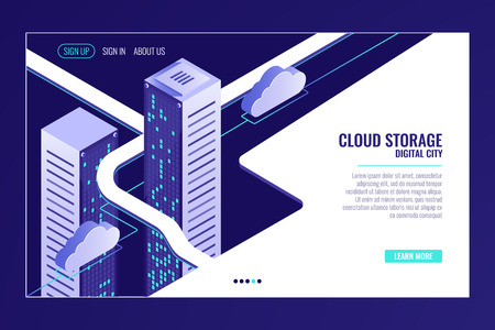Urban data city, cloud storage concept, server room rack, data center, database, bigdata processing isometric vector