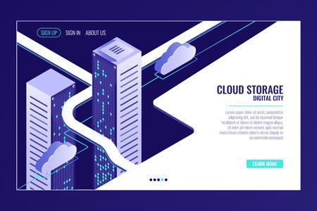 Ciudad de datos urbanos, concepto de almacenamiento en la nube, rack de sala de servidores, centro de datos, base de datos, vector isométrico de procesamiento de bigdata Ilustración de vector