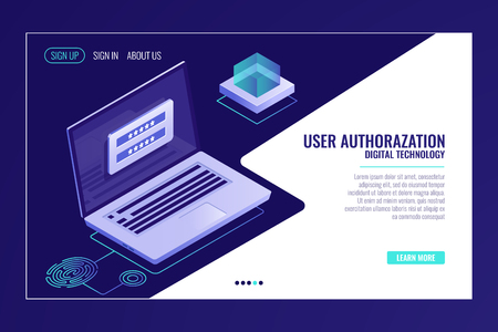 User sign up or sign in page, feedback, laptop with authorization form on screen, web page template banner vector