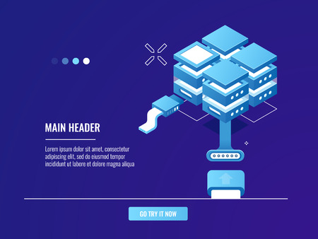Networking, internet connection, server room rack, data center, cloud storage, file share isometric